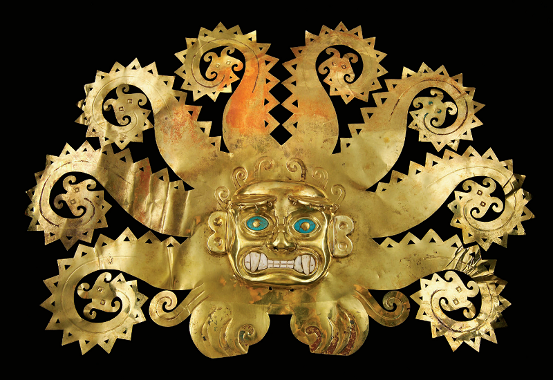 Explore the world in shorts in Facets from the March/April issue of Lapidary Journal Jewelry Artist. On exhibit at New York's Met: this octopus frontlet, A.D. 300-600, gold, chrysocolla, shells; Museo de la Nación, Lima, Peru. Photo courtesy the Metropolitan Museum of Art.