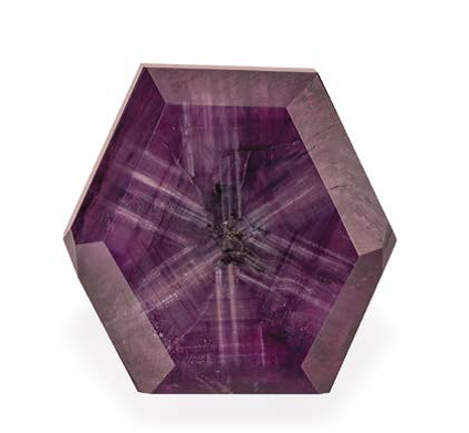 Purple sapphire crystal from Omi Gems; photo courtesy Omi Gems