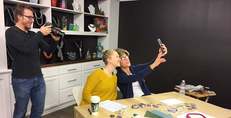 Top 5 Tips for Successful Beading Videos and bead weaving - Tammy and Hannah taking a selfie and Adam capturing the moment.