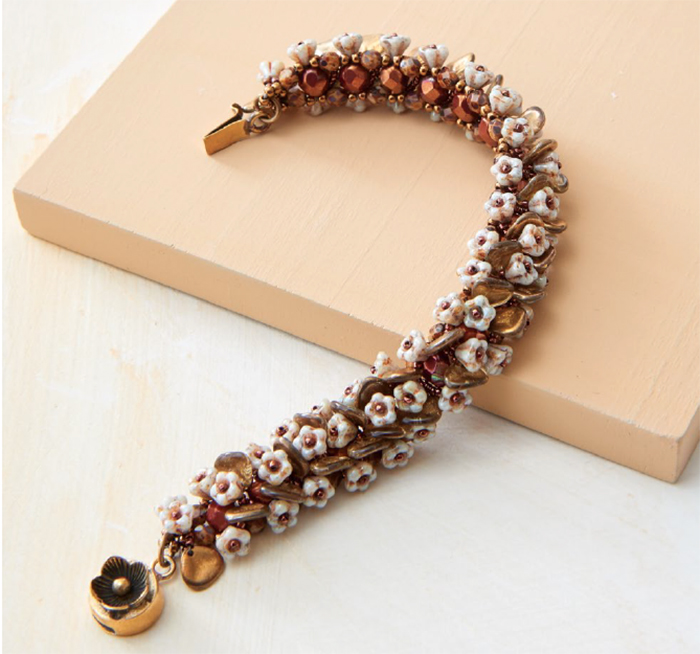 Beading pattern, On the Vine Bracelet, by Jacqui Higgins