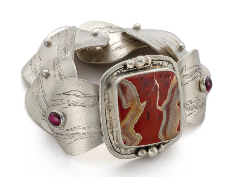metal clay jewelry: Open and Close Carved Metal Clay Bracelet with Hidden Hinge