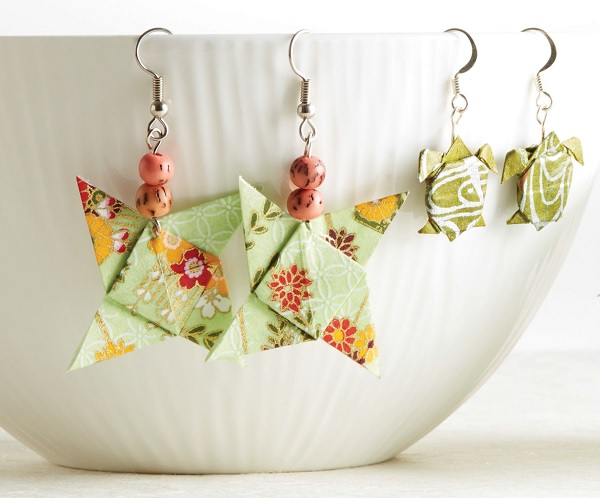 learn to make origami earrings and other paper jewelry