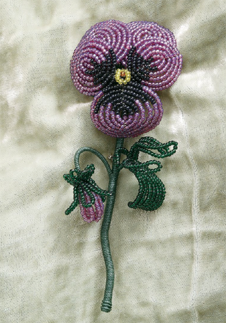 Pansy flower, a project in Beads in Bloom, by Arlene Baker, where you'll learn how to make beaded flowers.
