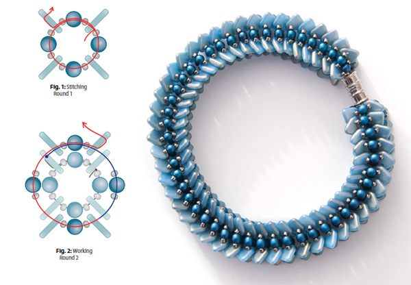 two-hole triangle beads in Paradox Bracelet by Nichole Starman, 10 Beaded Projects to Make with CzechMates Triangles
