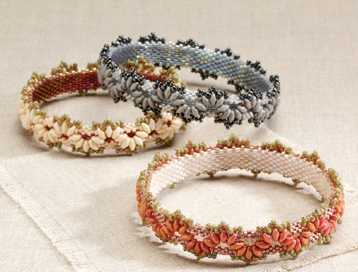 Passementerie Bangles by Alice Coeho. Shaped beads, Favorite Bead Stitches Beadwork issue