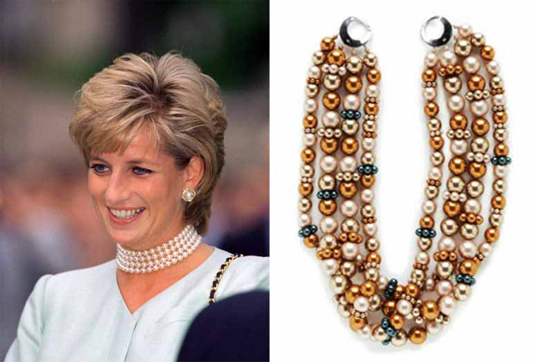 Jewelry Trends Report and Free Beaded Choker Necklace Projects. Princess Diana, icon and fashion plate, had a thing for chokers made of pearls. Honor her memory and make the Copper Romance choker.