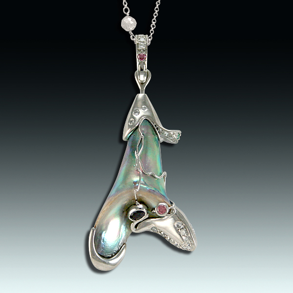 """abalone pearl jewelry: This lustrous rare natural abalone pearl inspired Eve Alfillé to create her """"Calla Lily"""" platinum pendant in the Art Nouveau style. The 14.40 carat abalone pearl is studded with emeralds, diamonds, and natural alexandrite to echo the color play in the pearl. Photo by Matthew Arden, courtesy Eve J. Alfillé Gallery and Studio Evanston, Illinois."""