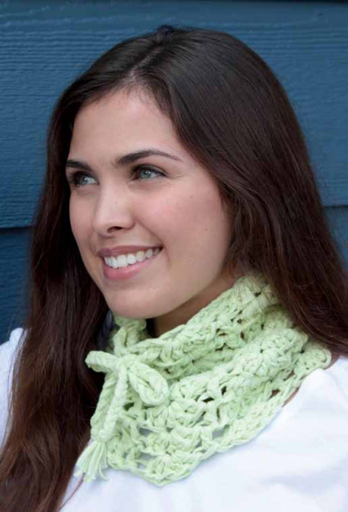 This is a quick and easy neck gaiter to crochet and can be found in our FREE eBook on crochet cowls patterns.