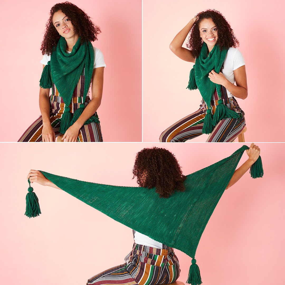 The Periphery Shawl is knit with Lorna's Laces Cloudgate in the Pine colorway.