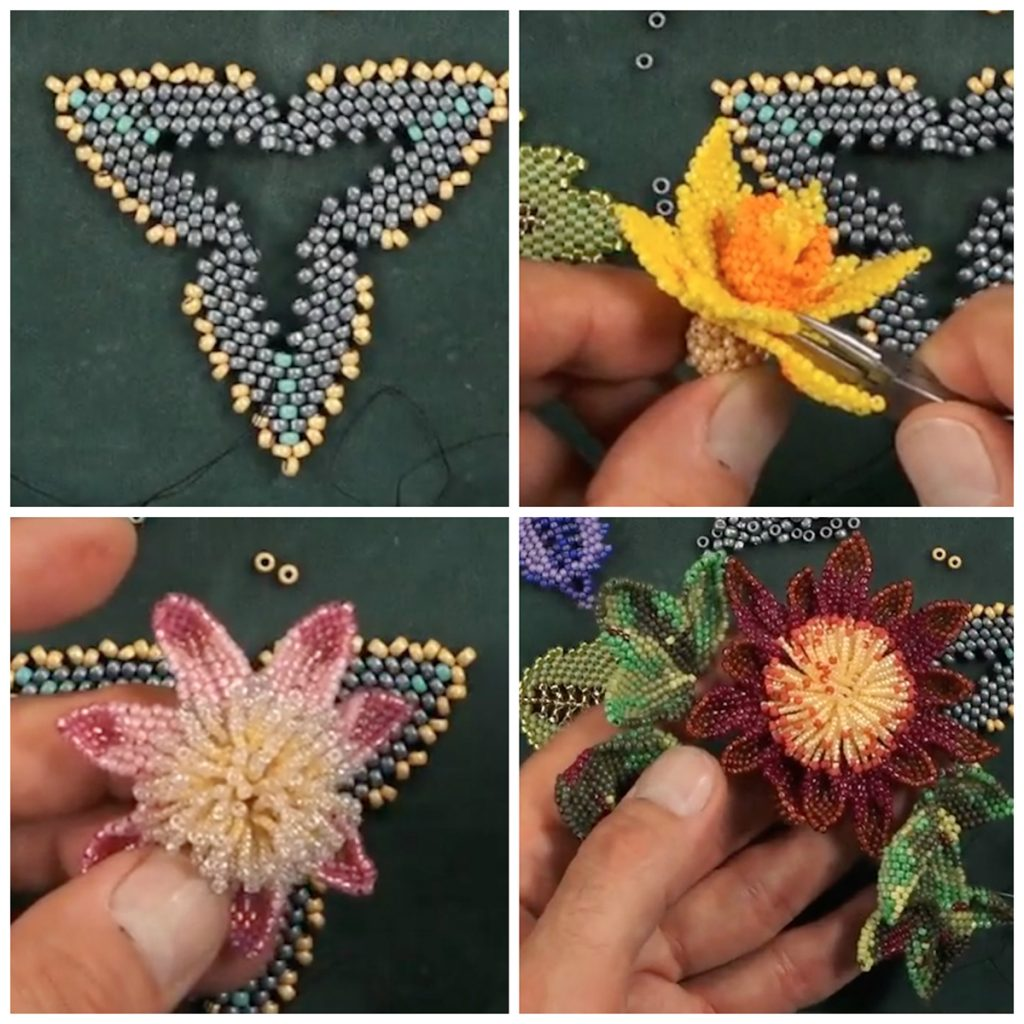 Huib Petersen, diagonal peyote stitch, russian leaf stitch, seed beading, bead weaving