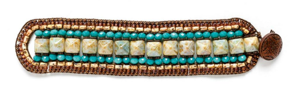 Pharoaoh S Finery Bracelety By Mice Gowland Czech Pyramid Beads And Seed Stitched To