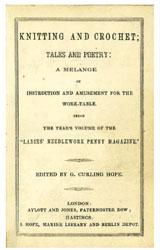 The title page from Ladies' Needlework Knitting and Crochet Tales and Poetry: A Melange of Instructions and Amusements.