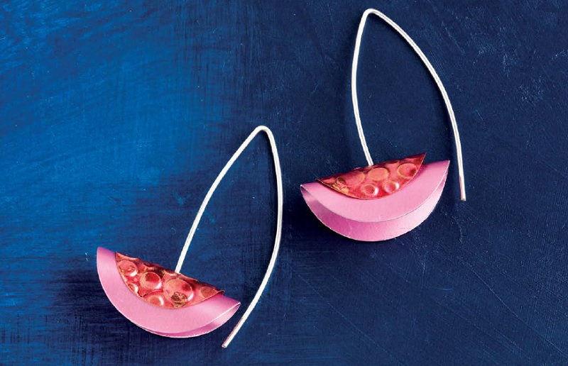 Pink Petals earrings by Denise Peck - metal jewelry from Wire + Metall by Denise Peck and Jane Dickerson