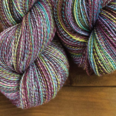 Spinning handpainted roving can create spectacular yarns like these. Yarn handspun by Barb Yamazaki