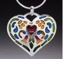 Plique-à-jour Pierced Enamel Heart Pendant by Diane Echnoz Almeyda
