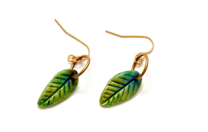 polymer clay leaf earrings from Christi Friesen's online workshop