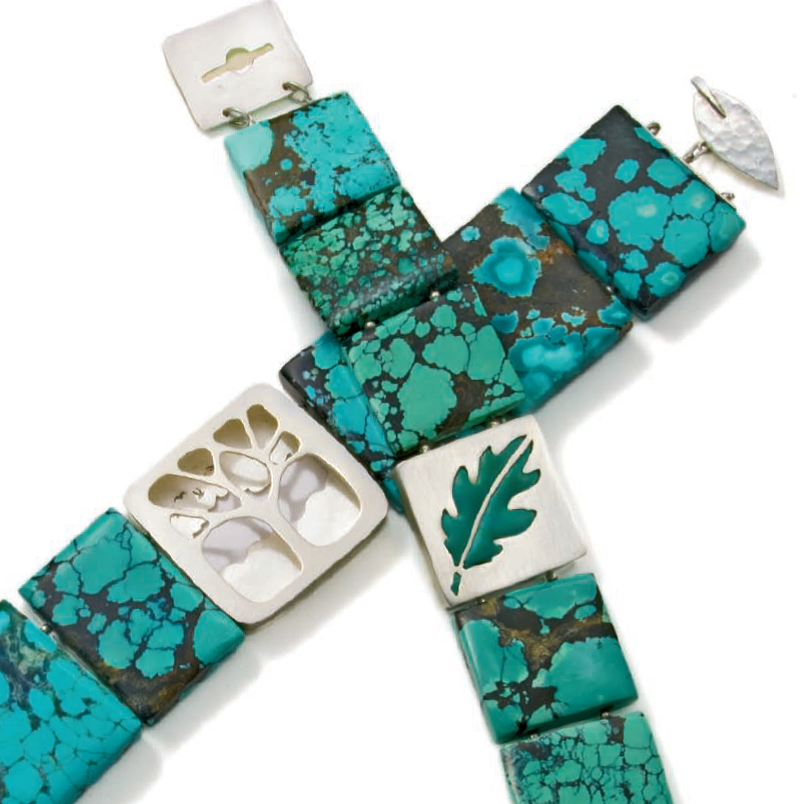 polymer clay and silver tile jewelry design