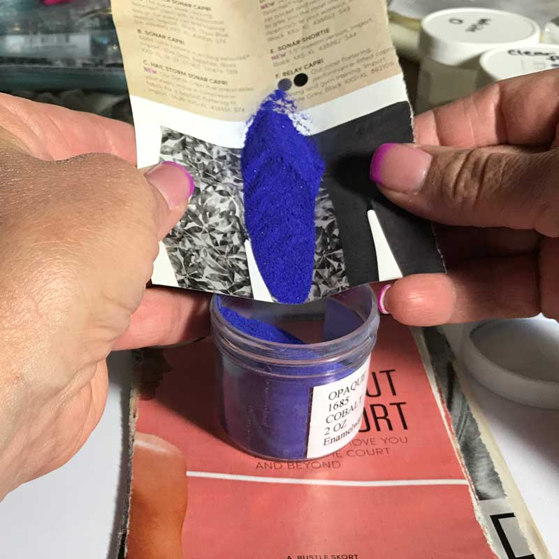 enameling: pouring enamel back into jar