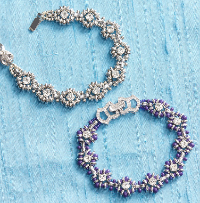 Bead Royale eBook by Cristie Prince. Queen of Diamonds bracelets. bead weaving with seed beads and crystals