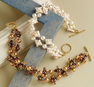 Learn how to make this quick beaded bracelet using large glass pearls and a chain stitch.