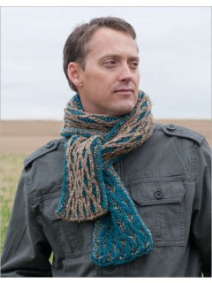 A reversible cable tucked into two-colored brioche rib makes the Raised Wale Scarf beautiful to behold on both sides.