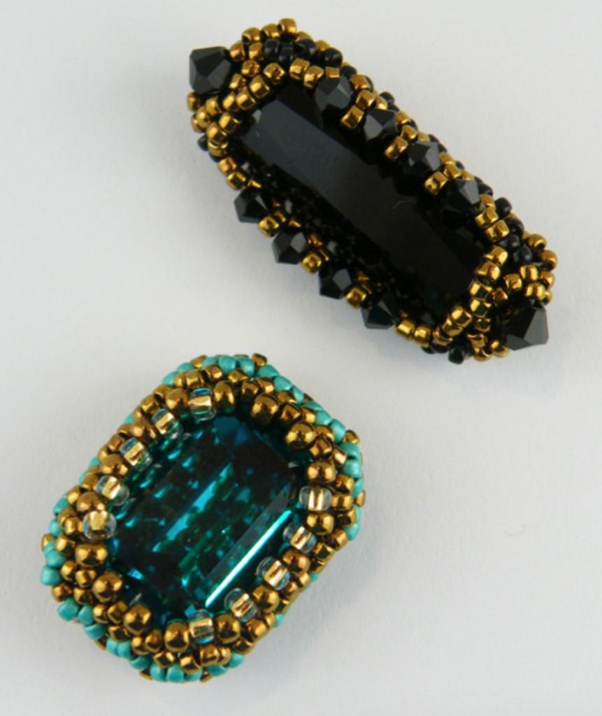 Beaded bezels for rectangular crystals