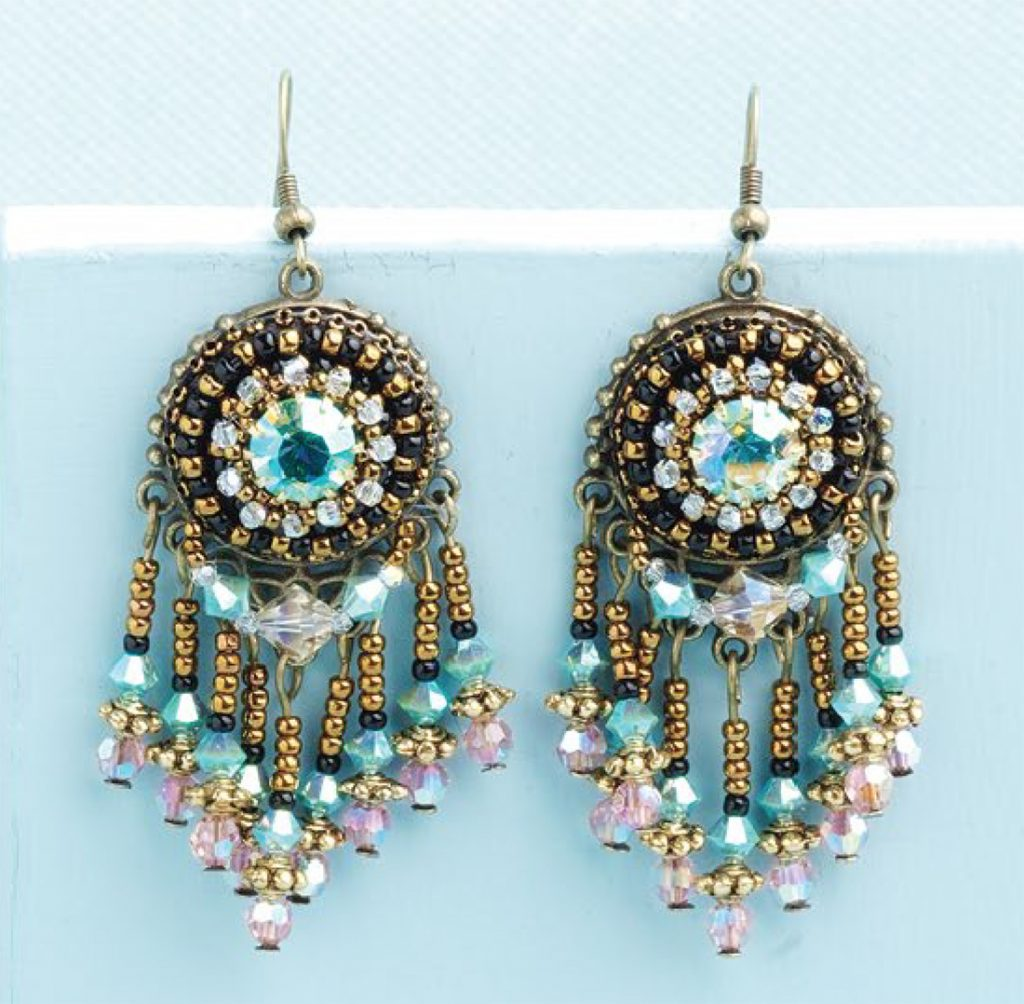 Reeds Got Class bead embroidered and fringe earrings by Sherry Serafini, bead embroidery