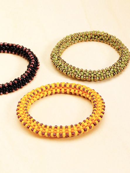 """Ridgeback Bangles,"" by Karin Salomon, a rope of cubic right-angle weave embellished with a  pattern of seed beads"