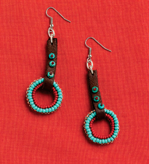 Riding Day Earrings, by Cindy Kinerson. Leather strips connected using a jumpring for a quick, easy and secure finish