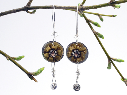 riveting flower jewelry by Karen Dougherty