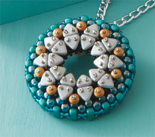 two-hole triangle beads in Rivette Pendant by Patrick Duggan 10 Beaded Projects to Make with CzechMates Triangles