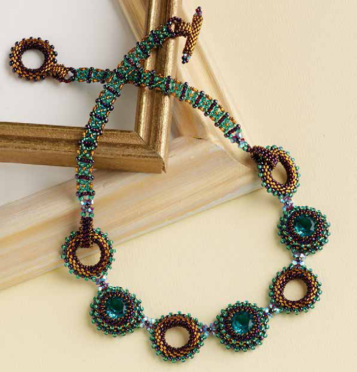 Learn how to make crystal jewelry with this rivoli stone necklace design.