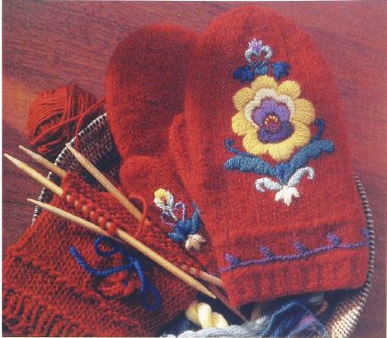 rosesaum embroidered mittens