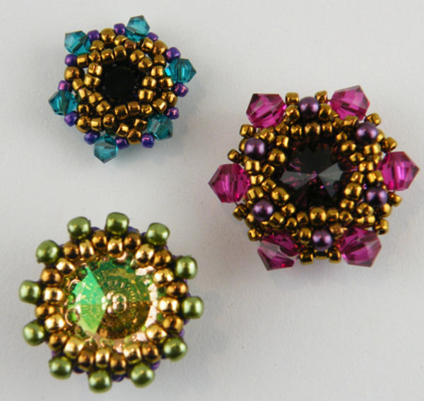 beaded bezels for round stone, by Kelly Wiese