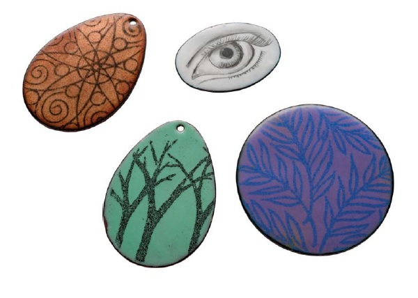rubber stamping for enamel jewelry making
