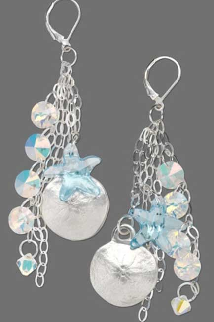 Jewelry Making: Bringing Nature Into the Studio. Sand Dollar metal clay and Swarovski crystal earrings by Tammy Honaman