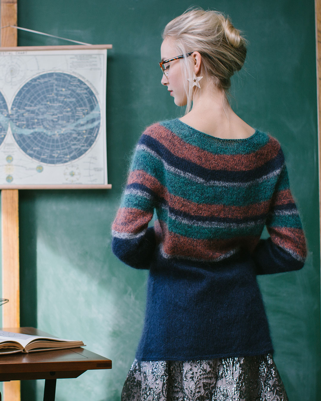 The Saturn's Rings Pullover is worked in the round, from the top down, and seamlessly.