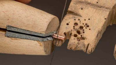 cold connections: sawing a wire to make a rivet for riveting