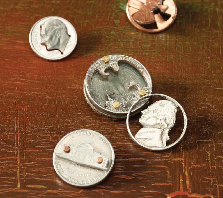 master metalsmithing sawing coins with Thomas Mann
