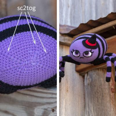 Single Crochet Two Together crochet stitch method.