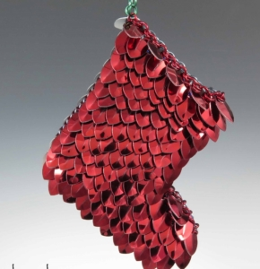 scale maille chain maille stocking ornament by Karen Karon