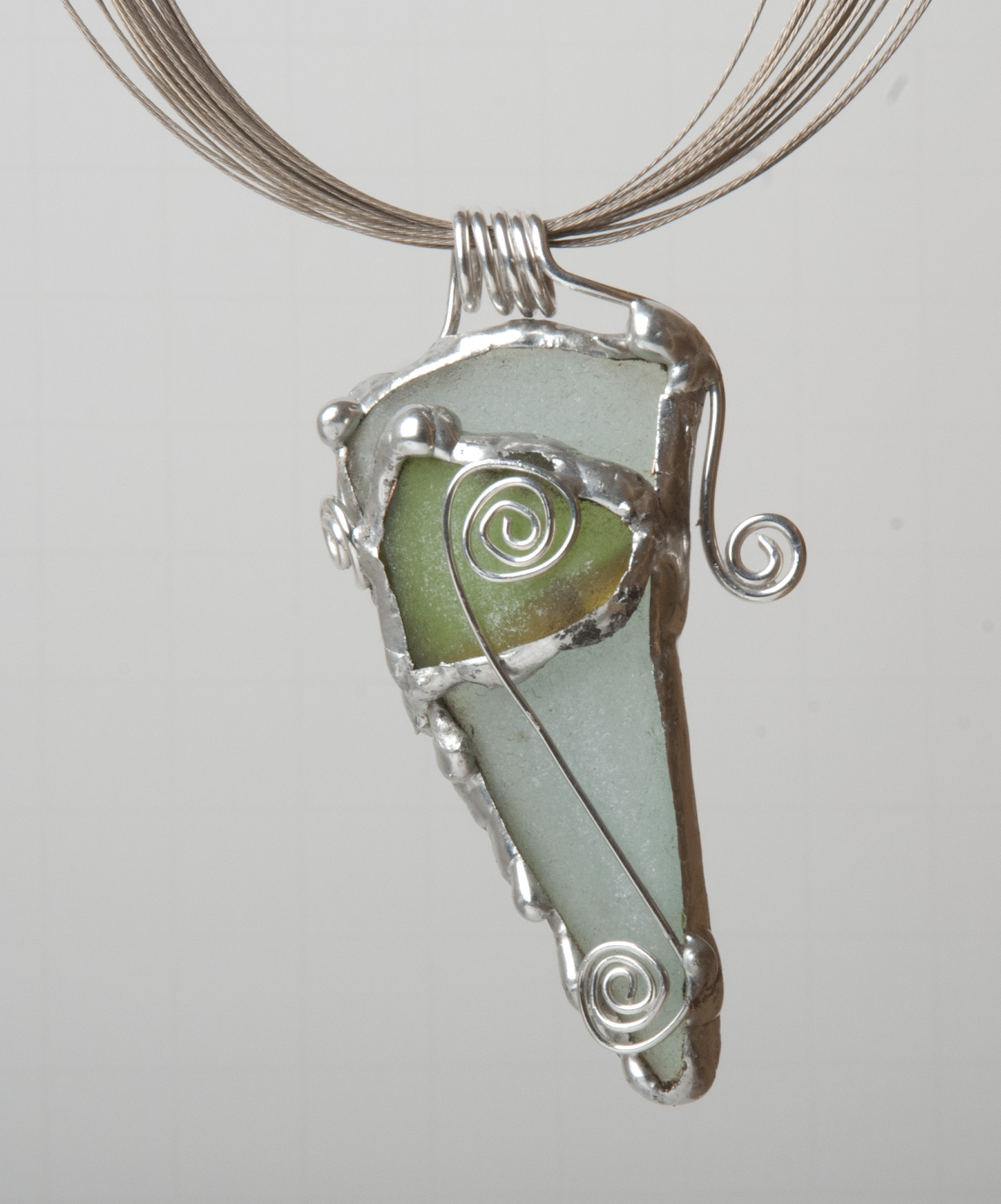 Sea Glass Pendant made using a soldering iron, lead-free solder, soldering supplies, sterling silver wire