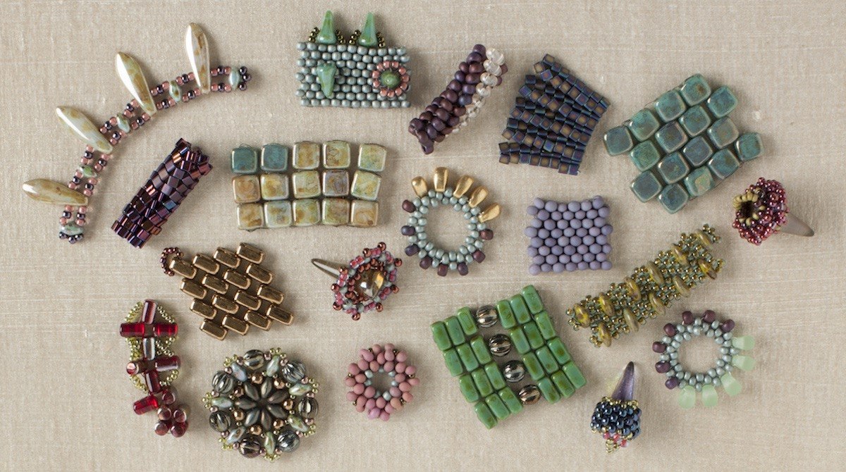 Woven shaped beads
