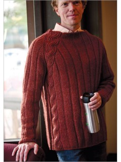 Knitted in the round from the top down, Jennifer Hagan's Shredder Pullover has no seams to sew: The underarm stitches are picked up and knitted as the sleeves are begun.
