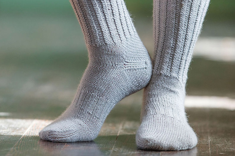 Original Pattern Image of Thames Path Knitted Socks by Lisa Jacobs