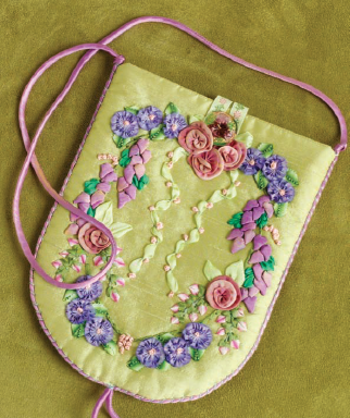 Example of a purse that used ribbon embroidery techniques.