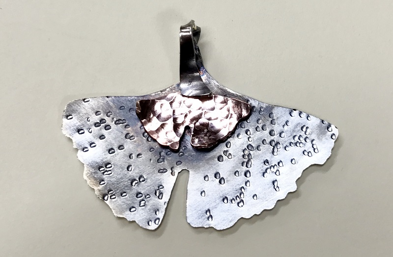 copper and silver gingko leaf with patina