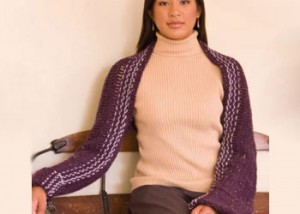 Learn how to make this easy hook and weave shrug found in our eBook on easy crochet patterns.