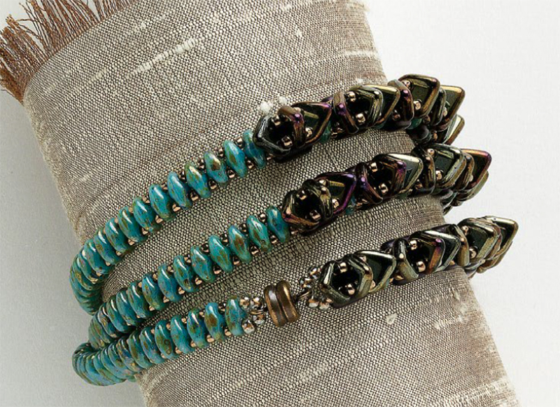 two-hole triangle beads in Slinky Serpentine Wrap by Rose Kasalis, 10 Beaded Projects to Make with CzechMates Triangles