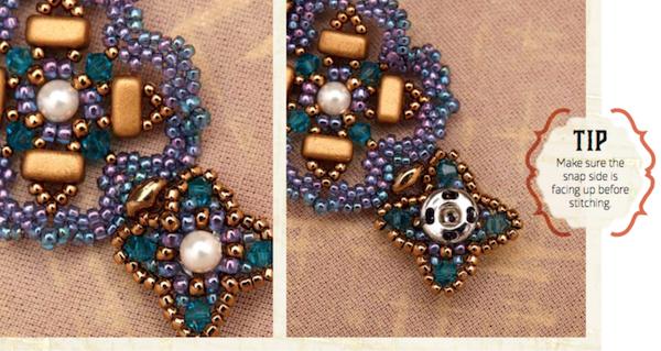 Snap clasp hidden in beadwork